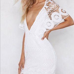 Nasty Gal White Lace Crochet Mini Dress
